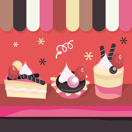 shop window display: A vector illustration of a cake shop window display. Illustration