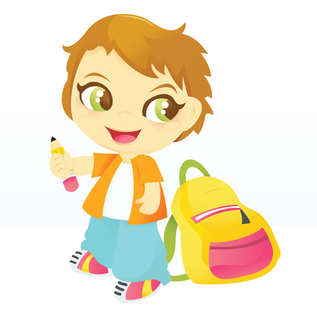him: A cartoon vector illustration of a happy school boy holding a pencil with backpack beside him. Illustration