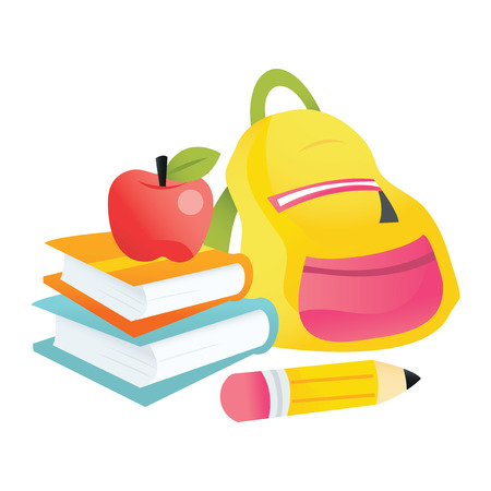 A vector illustration of back to school theme - books, apple, backpack and pencil.