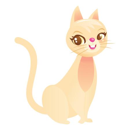 femininity: A cartoon vector illustration of a cute kitty cat. Illustration