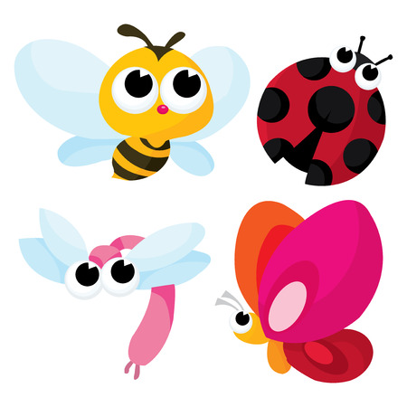 bee: A cartoon vector illustration of pretty cute little bugs like honey bee, dragonfly, butterfly and ladybug.