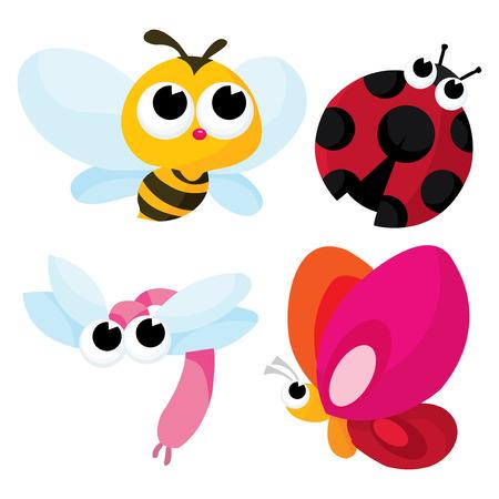 catarina caricatura: Una ilustración vectorial de dibujos animados de muy lindos pequeños insectos como las abejas de miel, libélula, mariposa y mariquita.