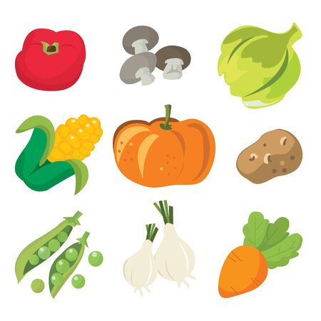 raw potato: A cartoon vector illustration set collection of fresh vegetables.