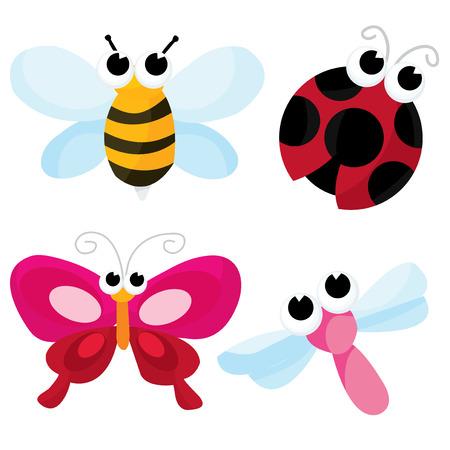꿀 꿀벌, 잠자리, 나비와 무당 벌레 같은 꽤 귀여운 버그의 만화 벡터 일러스트 레이 션.