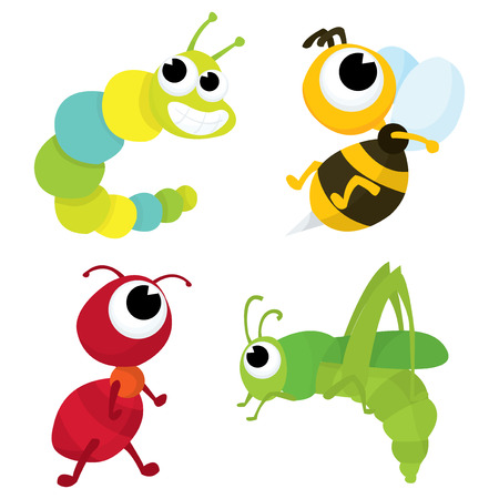 A cartoon vector illustration set of four cute bugs consists of caterpillar, bee, ant and grasshopper.