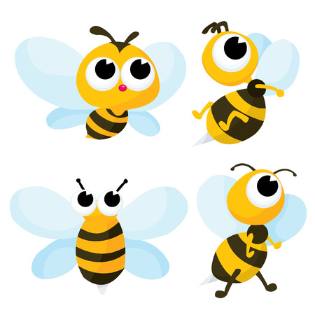 A  cartoon vector illustration set of four cute bumble bee.