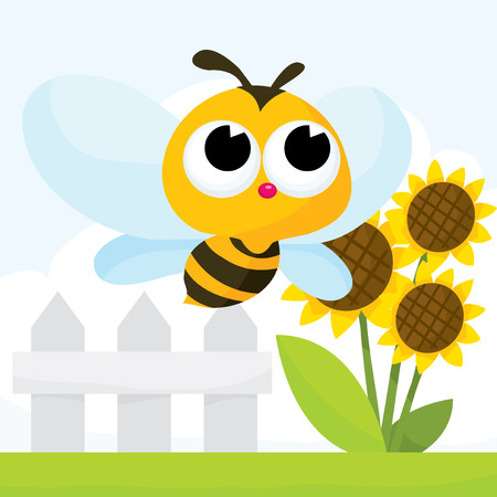 A cartoon vector illustration set of cute bee in garden Çizim