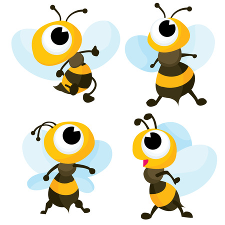 bumble: A cartoon vector illustration  set of four cute bumble bee.