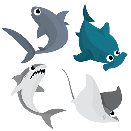A cartoon vector illustration set of three sharks and a sting ray.