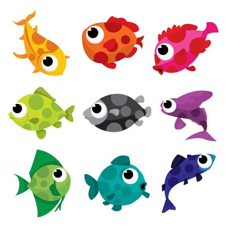 A cartoon vector illustration collection of colorful spotty fishes.