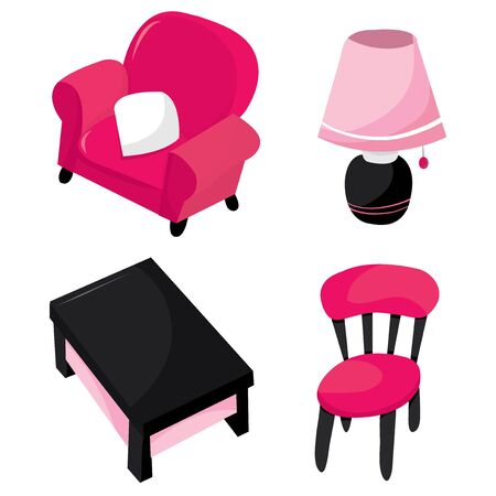 decorator: A set of cartoon vector illustration of sweet and cute furniture for the ladies.