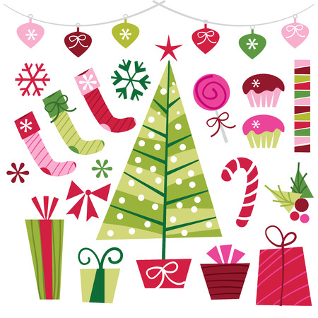 A vector illustration set of retro christmas design elements like christmas tree, gifts, stockings, ribbons, stars and confetti, cupcakes, snowflakes, mistletoes and candy cane. Ilustracja