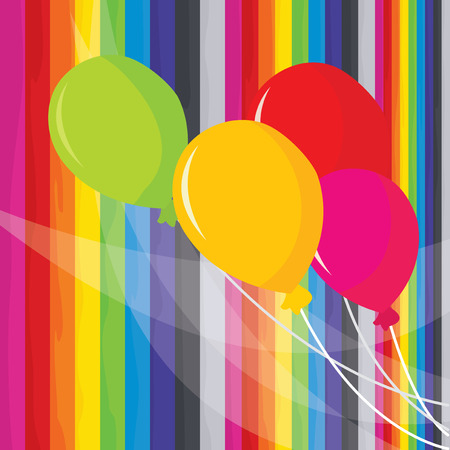 celebratory event: A vector illustration of colorful balloons set on a rainbow stripes background.