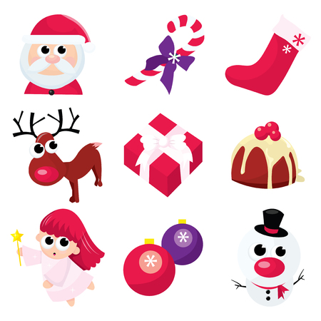 A vector illustration set of christmas related icons.