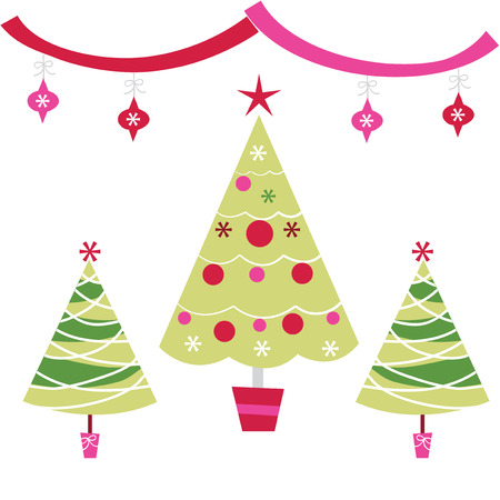 descriptive: A vector illustration set of funky retro christmas trees with ornaments.