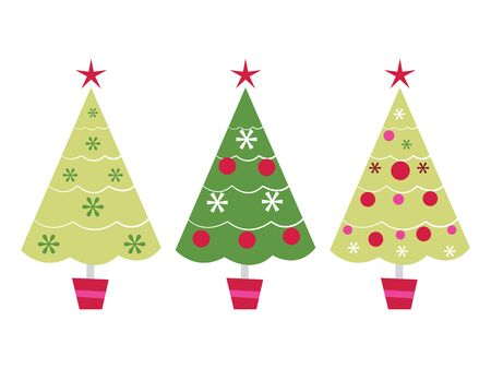 A vector illustration set of three cute christmas tree in a row.