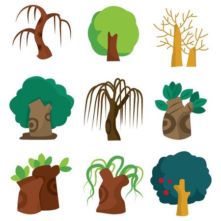 teak: A cartoon vector illustration set of nine different trees.