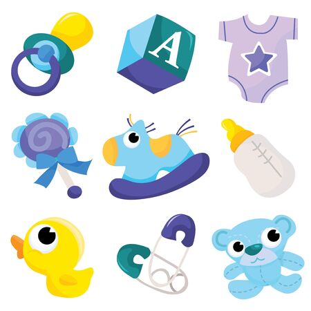 nappy: A vector illustration of cute baby boy icons like nappy pins, pacifier and baby toys.