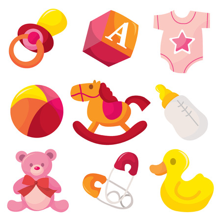 nappy: A vector illustration of cute baby girl icons like nappy pins, pacifier and baby toys. Illustration