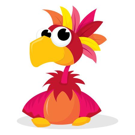 mohawk: Cute cartoon parrot with mohawk feathers vector illustration. Illustration