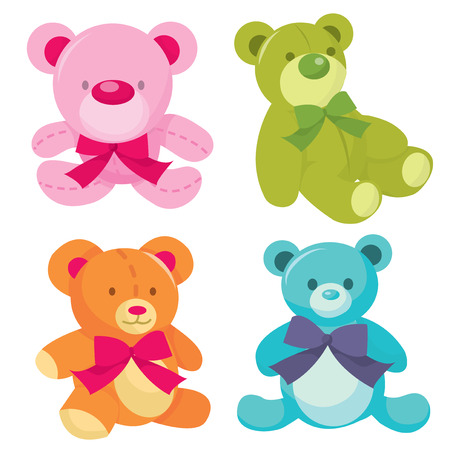 teddy: A set of four cute teddy bears vector illustration in different color. Illustration