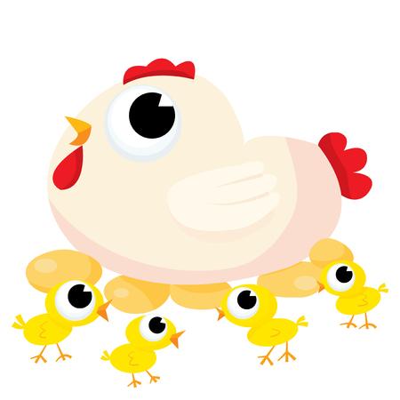 animal leg: Cute cartoon vector mother Hen and her cute little yellow chicks Illustration