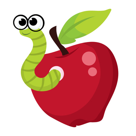 cartoon worm: A cute green worm with glasses coming out of an apple.