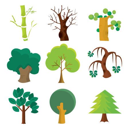 만화 벡터 일러스트 레이 션은 9 개의 서로 다른 나무의 집합입니다.