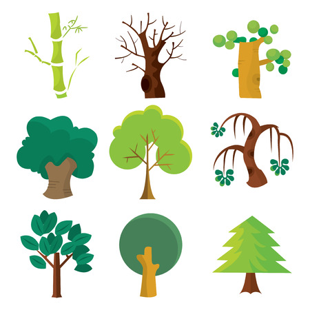 arbol roble: Una ilustración vectorial de dibujos animados conjunto de nueve árboles diferentes.