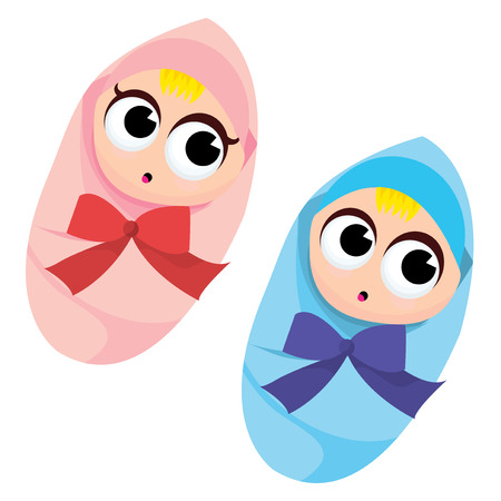 its: A cartoon vector illustration of a baby boy and baby girl. Illustration