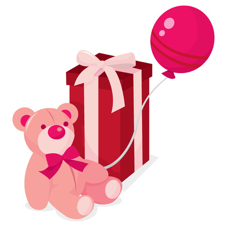 pink teddy bear: A pink teddy bear holding a pink balloon and a gift box vector illustration.