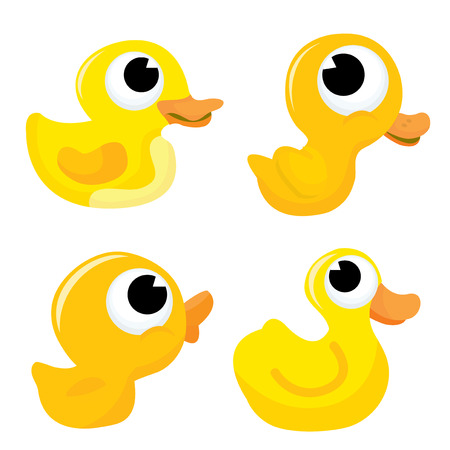 cartoon duck: A cartoon vector illustration set  of adorable four different yellow rubber ducks. Illustration