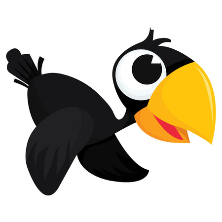 A cartoon vector illustration of a cute happy crow flying.