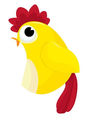 crowing: Bright yellow chicken vector cartoon illustration.
