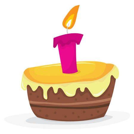 candle flame: A vector illustration of a birthday cake with a single candle. Illustration