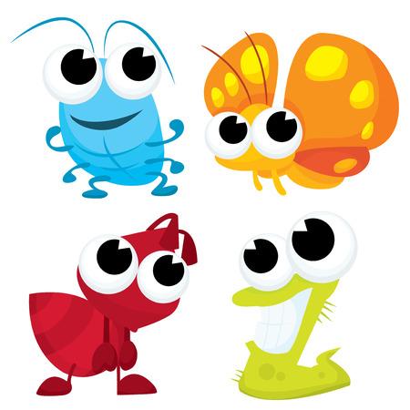 oruga: Pequeño insecto ilustración de dibujos animados lindo bichos conjunto de vectores.