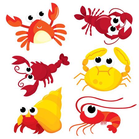 A colorful cartoon crustacean family vector illustration set. Illustration