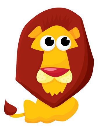 undomesticated cat: A cartoon vector illustration of a cute yellow lion.