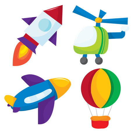 airplane mode: Cute cartoon vector illustration air transportation like airplanes, helicopter, rocket and hot air balloon. Illustration
