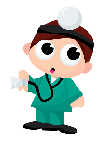 boy doctor: A cartoon vector illustration of a cute brunette boy doctor. Illustration
