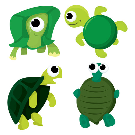 aquatic reptile: A cartoon vector illustration set of turtle and tortoise