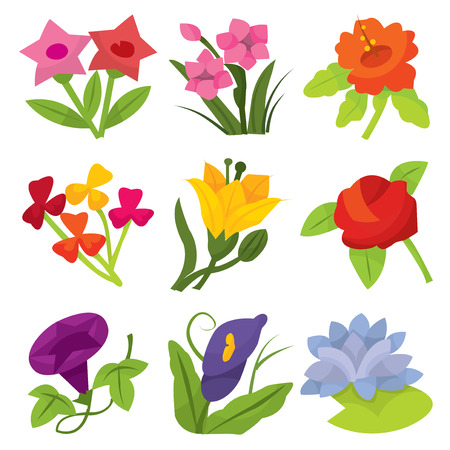 A set of nine different colorful flowers cartoon vector illustration. Çizim