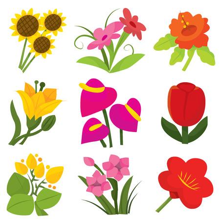 flor caricatura: Un conjunto de iconos de colores de flores en 3 ilustración vectorial tonos diferentes. Vectores