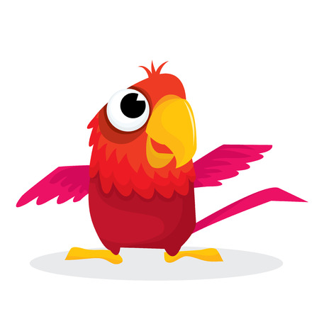 parakeet: Cute little red macaw cartoon vector illustration..