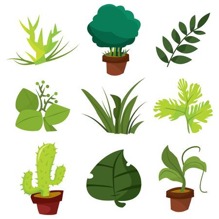 arboles de caricatura: Una ilustración vectorial de dibujos animados colección de plantas y hojas.