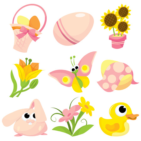 cartoon easter basket: Nine different holiday easter set icons cartoon vector illustration.