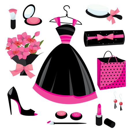 pink dress: Cute and feminine fashion vector illustration icons in pink and black shade. Illustration