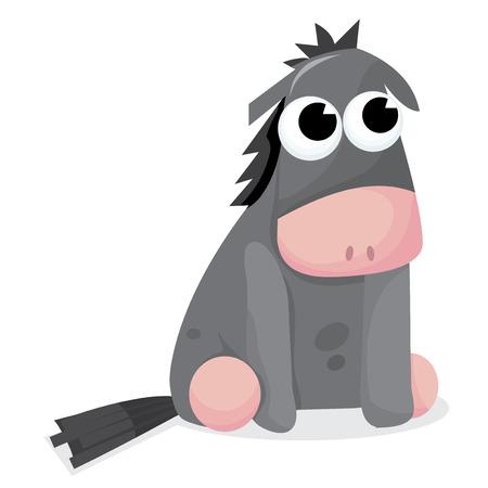 burro: Un burro lindo sentarse ilustración vectorial de dibujos animados.