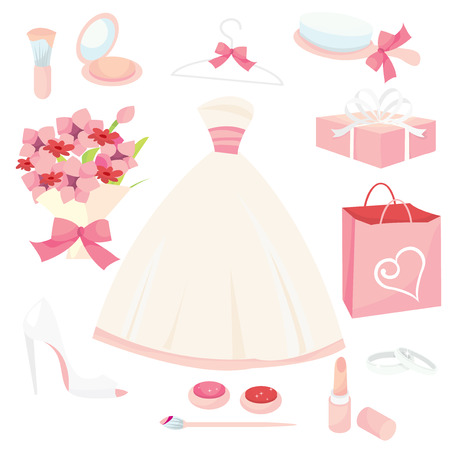 formal dressing: A set of cute pretty bridal icons vector illustration set.