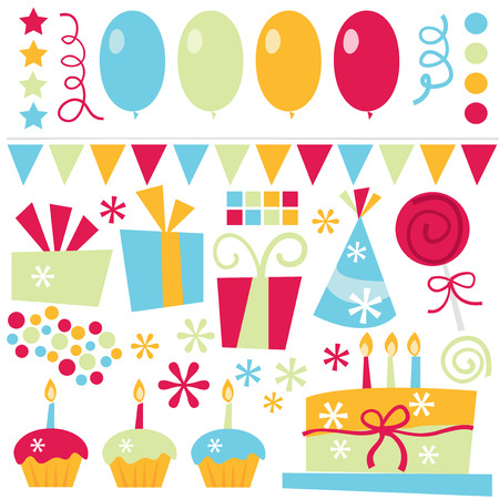 suprise: A vector illustration of birthday surprise party elements like birthday cakes, balloons, confetti, birthday gifts and more. Illustration